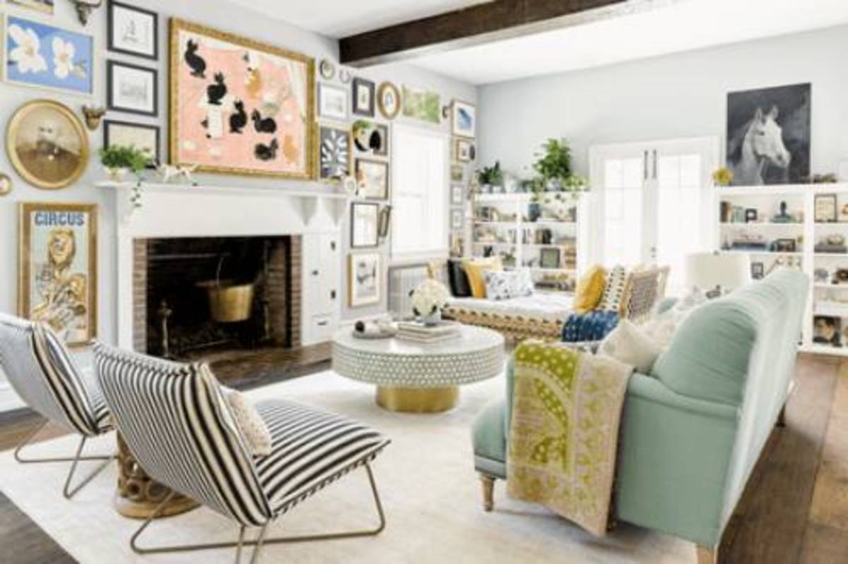 The colorful decorating prints from  lively wall art and gray walls.