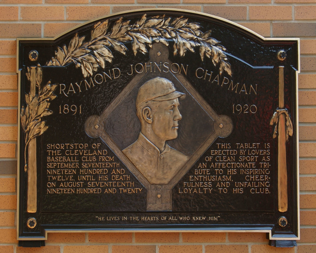 Ray Chapman is permanently celebrated inside Heritage Park at Progressive Field in Cleveland.