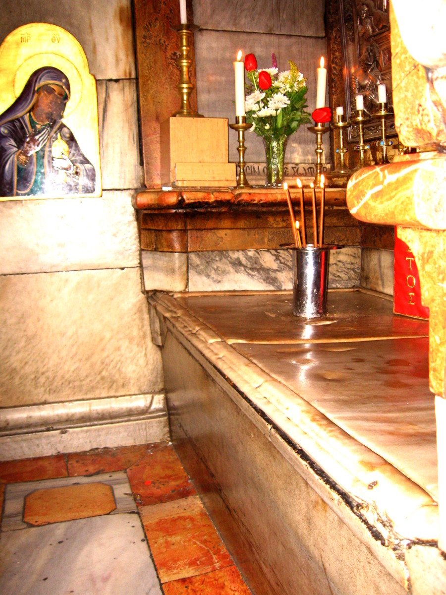 TOMB OF JESUS INSIDE THE CHURCH OF THE HOLY SEPULCHER (EMPTY OF COURSE)