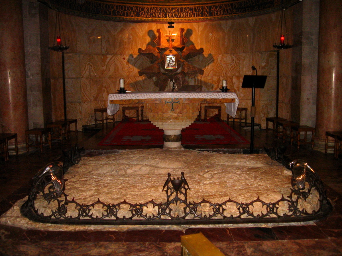 ALTAR ON THE ROCK WHERE JESUS PRAYED IN THE GARDEN OF GETHSEMANE (NOW IN THE CHURCH OF ALL NATIONS)