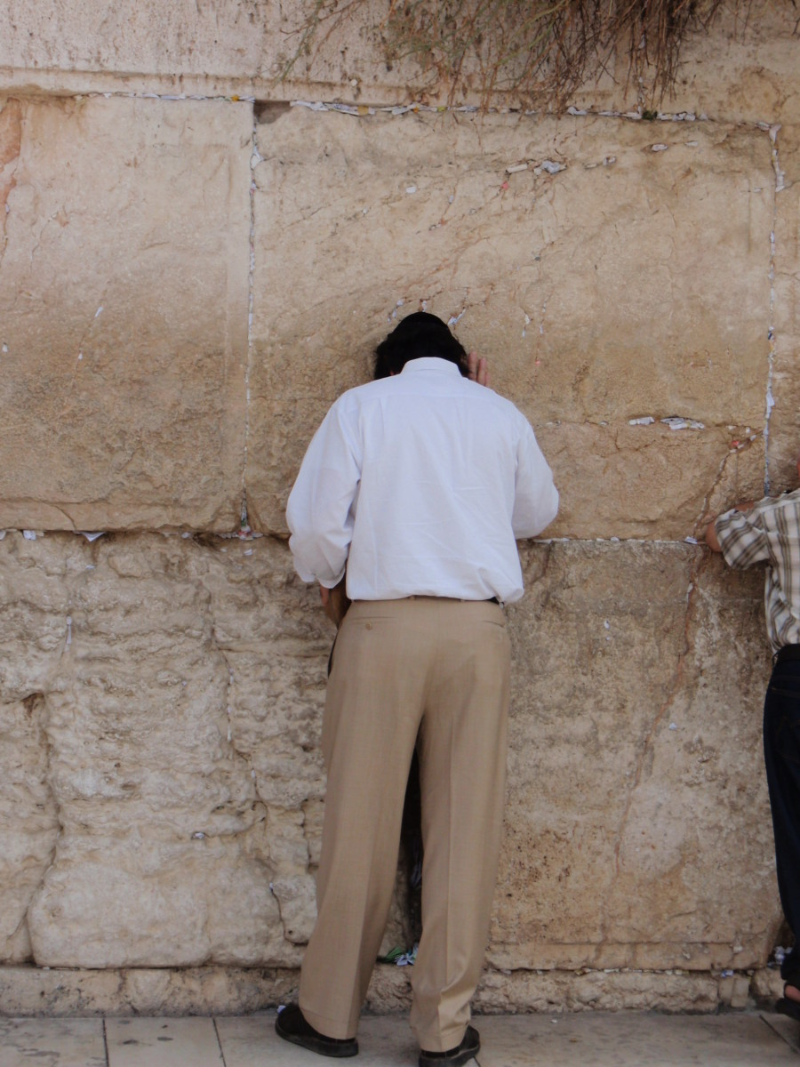YOUR AUTHOR PRAYS AT THE WAILING WALL