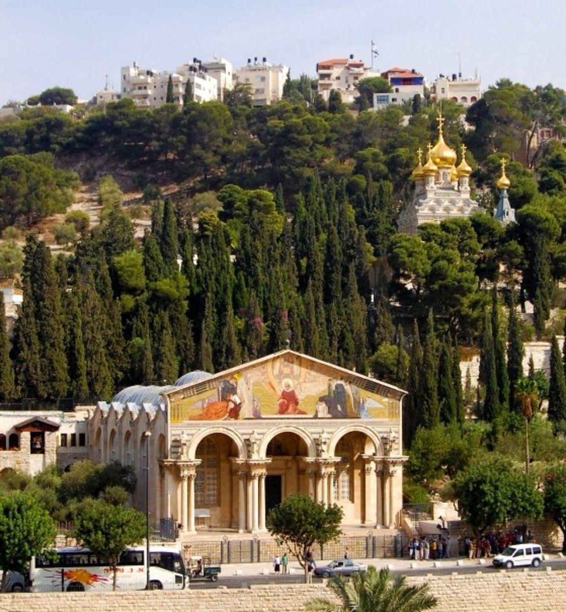 MOUNT OF OLIVES WITH CHURCH OF ALL NATIONS IN THE FOREGROUND