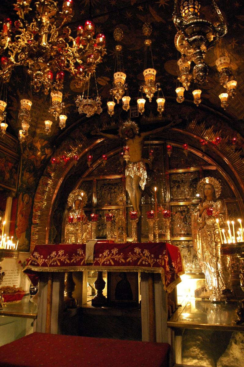 GOLGOTHA INSIDE THE CHURCH OF THE HOLY SEPULCHRE