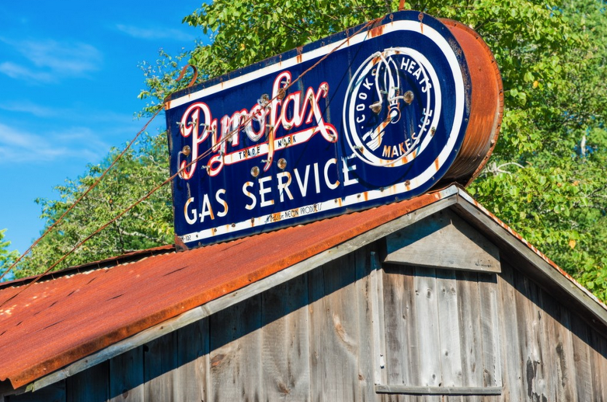 I spotted this old Pyrofax Gas Service neon sign near Bar Harbor Maine.