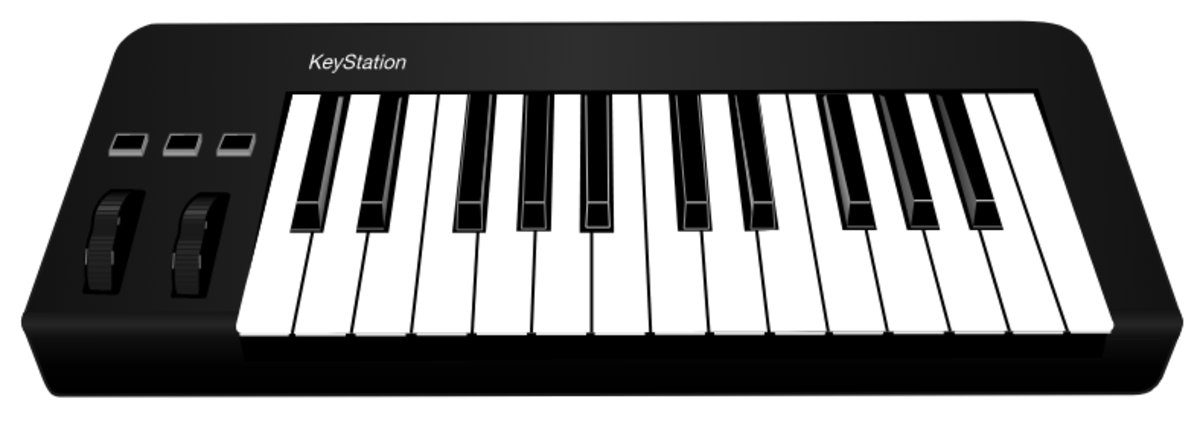 Example of Standard MIDI Keyboard. Can be plugged into your Computer