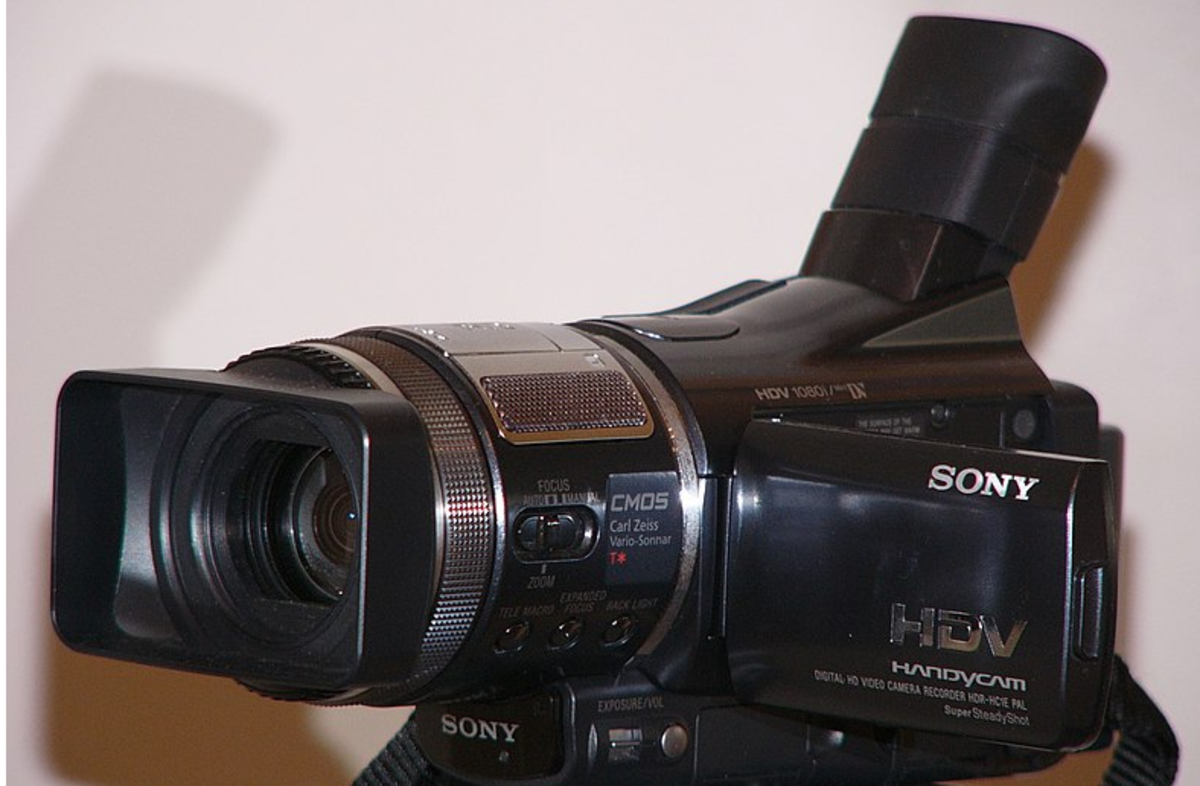 A Sony HDR-HC1E Camcoder