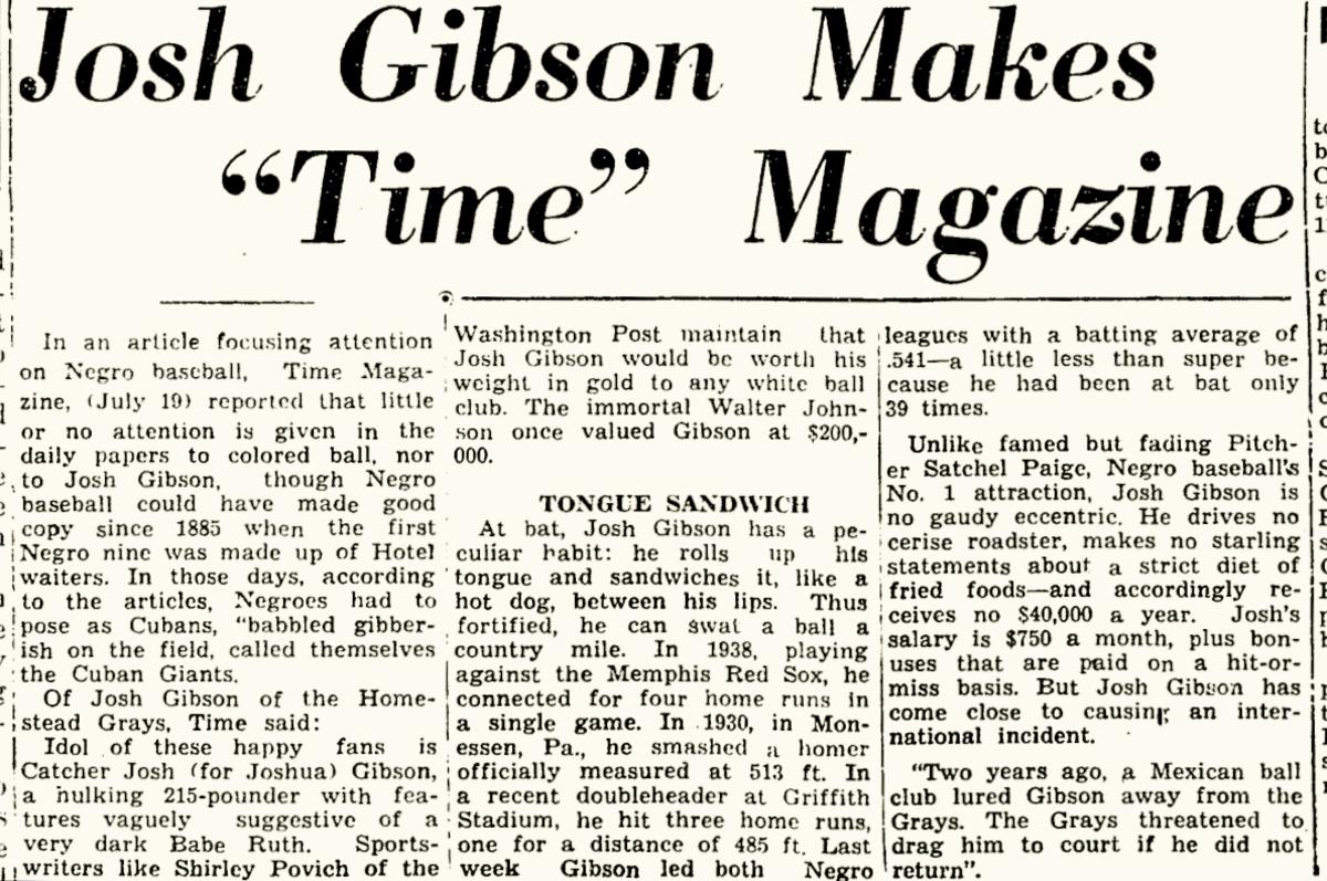 Time Magazine on Josh Gibson