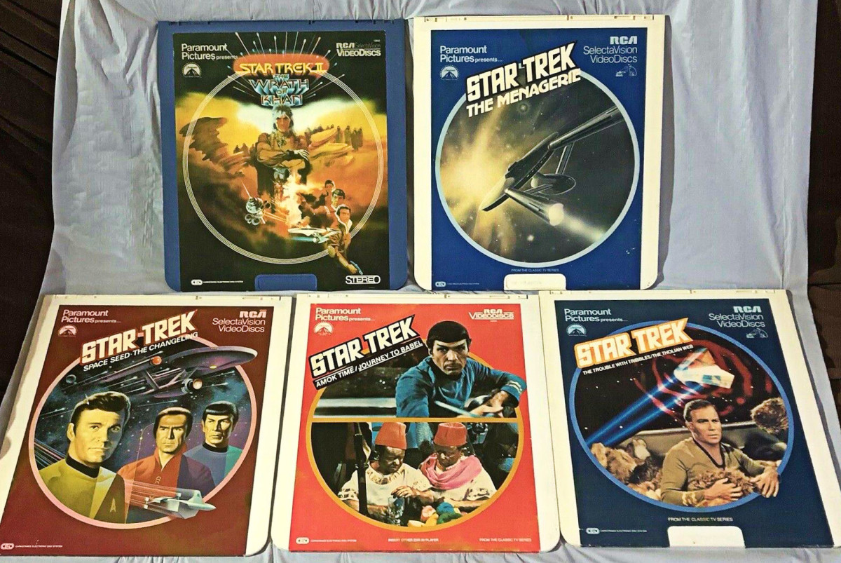 Collection of 5 Star Trek Videodiscs (CED).  Perfect for the collector.  All five for one price.  These is becoming hard to find as a set these days.