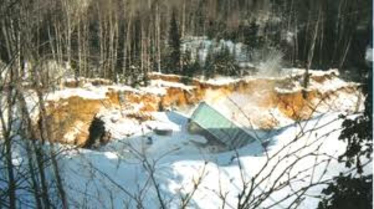 Recent photo of cave in at Ropes Mine site