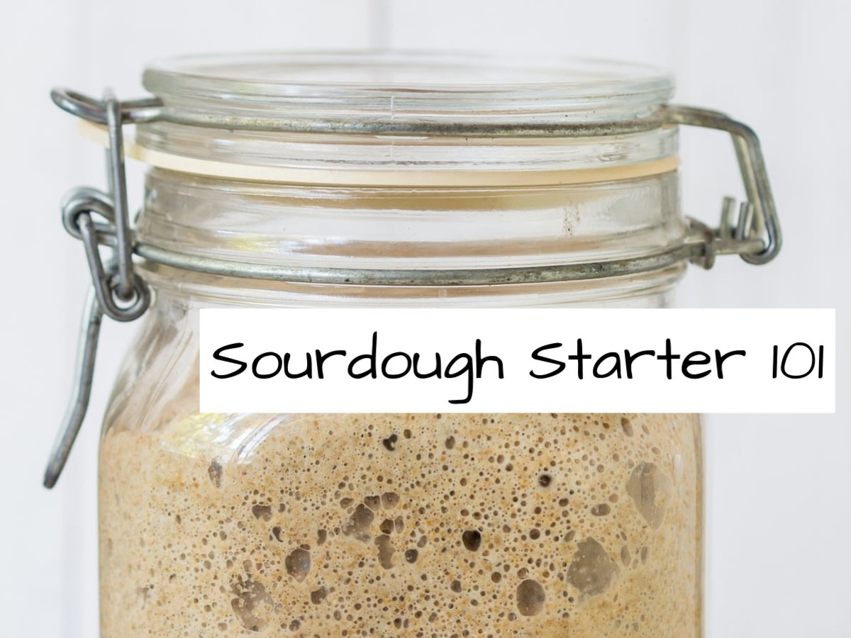 All you need to create a sourdough starter: a bag of wheat flour, lukewarm water, a glass container, and time.