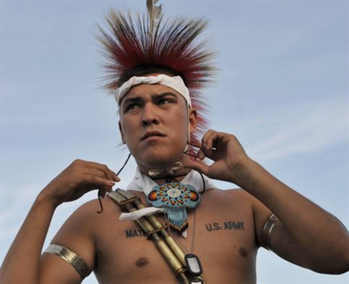 US Army Pvt. Skyler Mathews, Kansa and Kaw Nation. The headpiece in the 931st Air Refueling Group's official symbol.