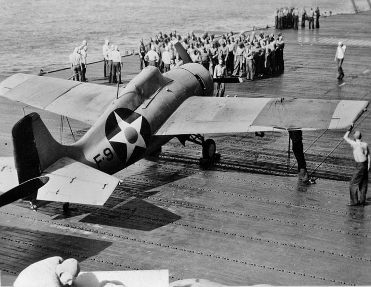 Wildcat on deck of aircraft carrier.
