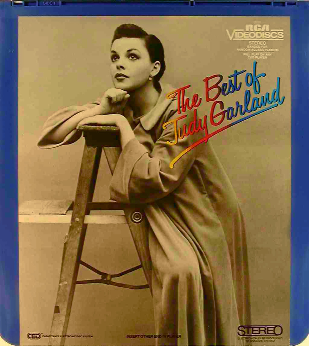 The front side of the disc cover or  The Best Of Judy Garland Movie CED Selectavision Video Disc