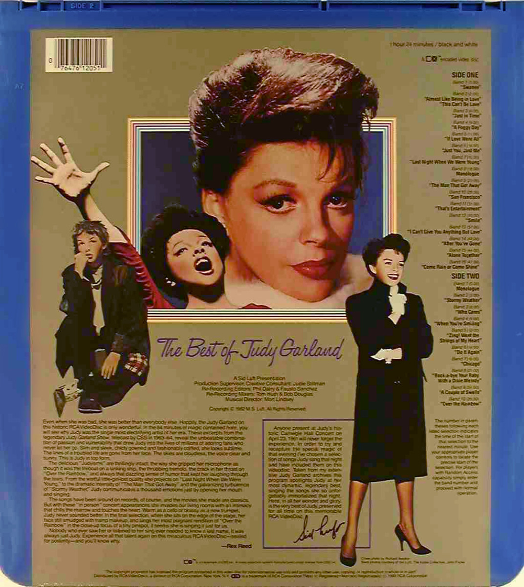 The back side of the disc cover or The Best Of Judy Garland Movie CED Selectavision Video Disc