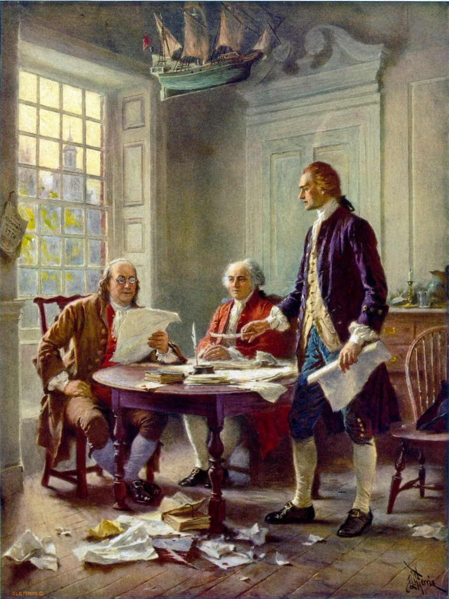 Benjamin Franklin, John Adams, and Thomas Jefferson drawing up the Declaration of Independence.