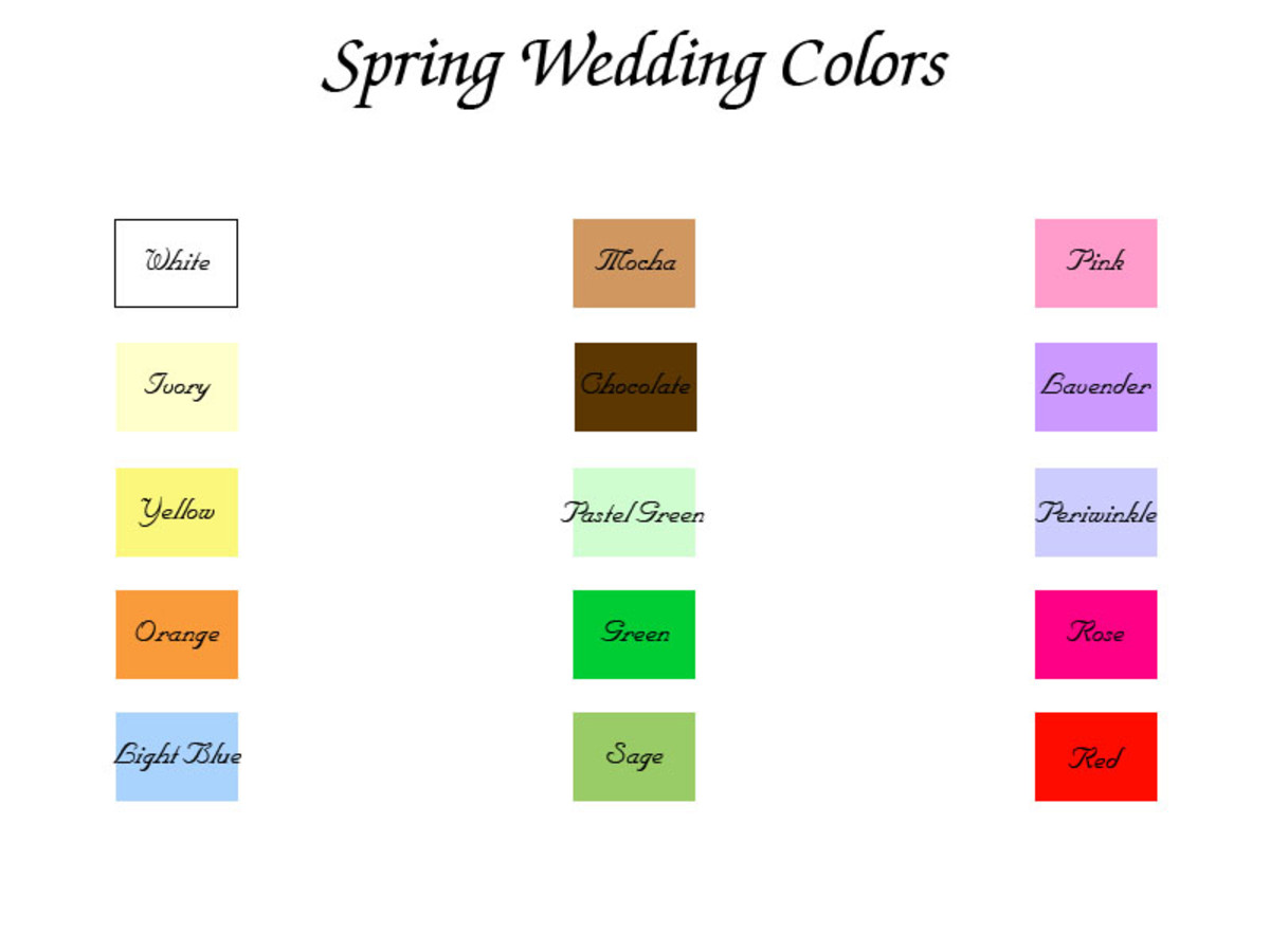 Spring wedding color chart (click to enlarge)
