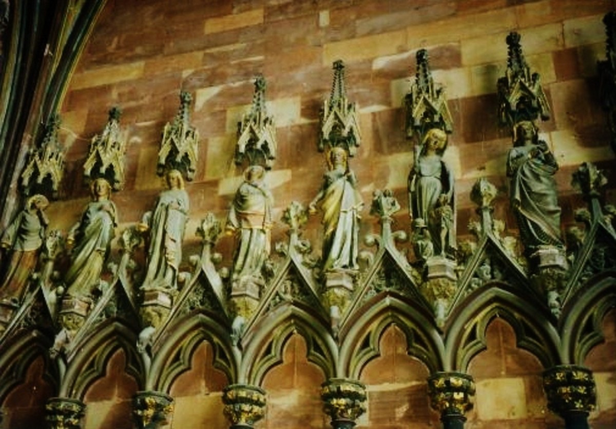 Intricate carvings on the outside of The Minster Church in Freiburg, Germany