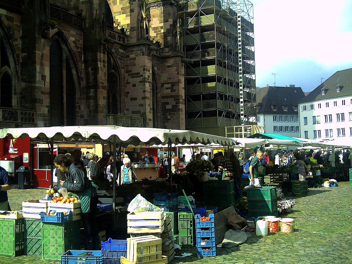 Open air market in Freiburg, Germany