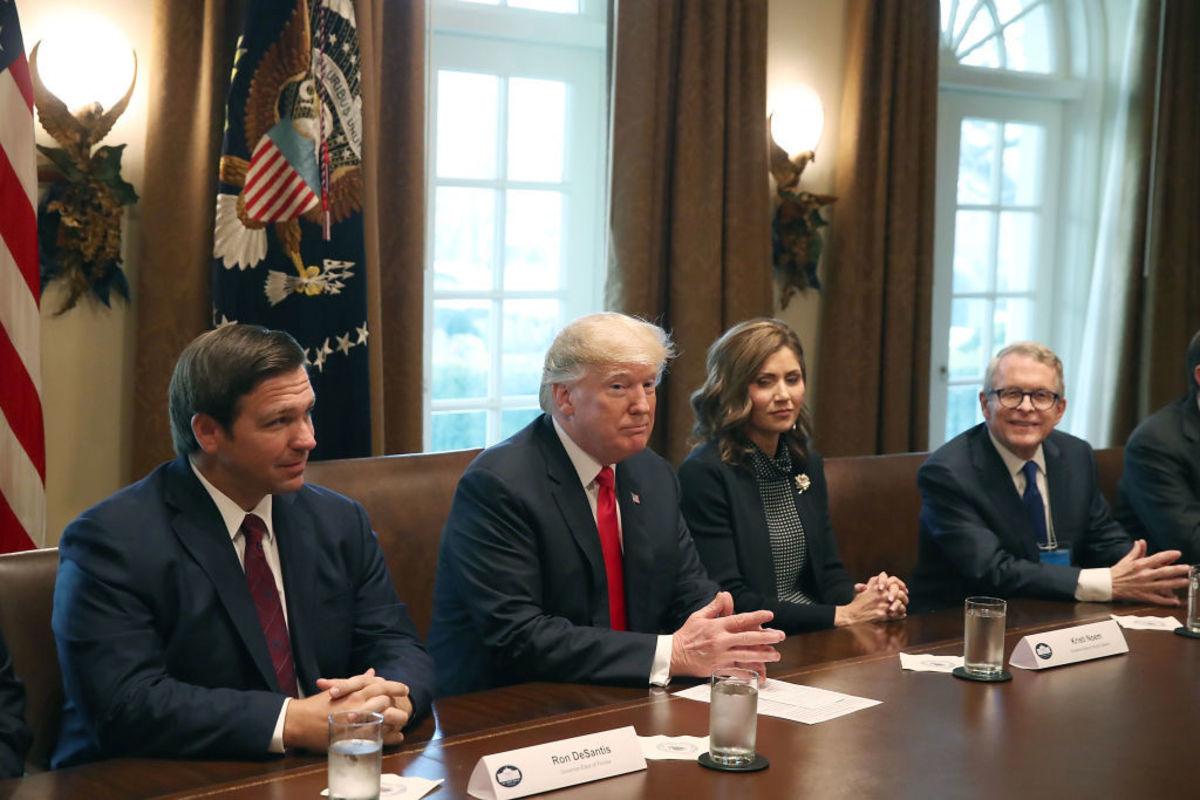Governor Ron DeSantis, President Donald Trump and Governor Kristi Noem