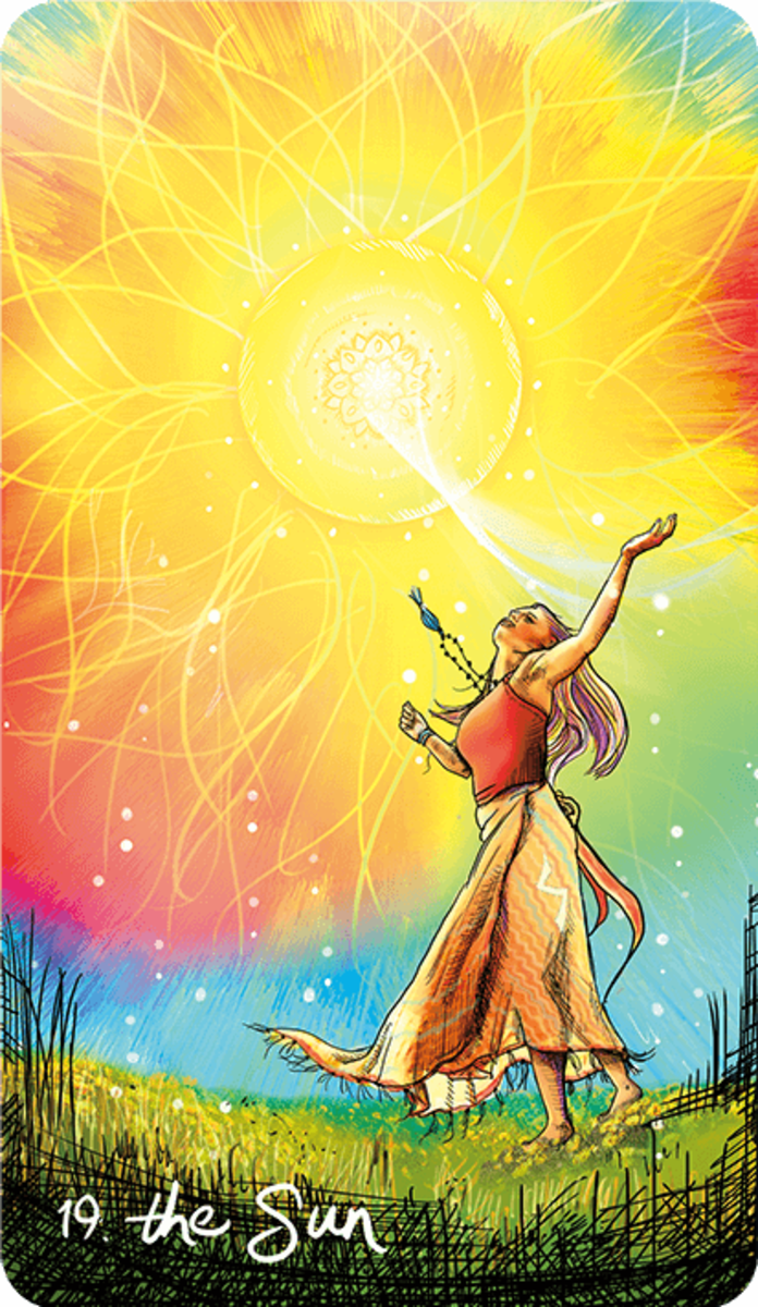 The Sun is a blast of fire energy. It's meant to be positive and radiant. It encourages people to accept the energy of the Sun into their lives, to get vitamins from it, and to renew their confidence. The Sun card connects to the three fire signs.