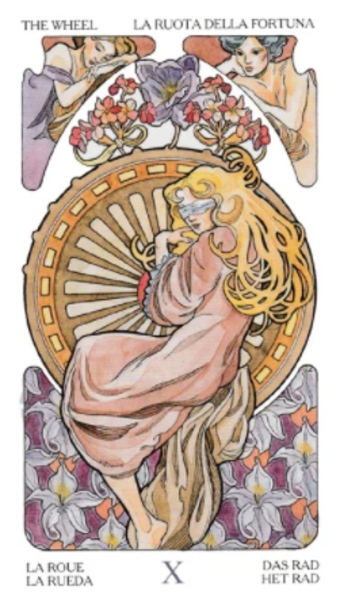 Wheel of Fortune is one of the most loaded tarot cards when it comes to symbolism. It is fate in rotation, the organic nature of life bound by laws, it is the complex nature of religion, and the four living creatures.