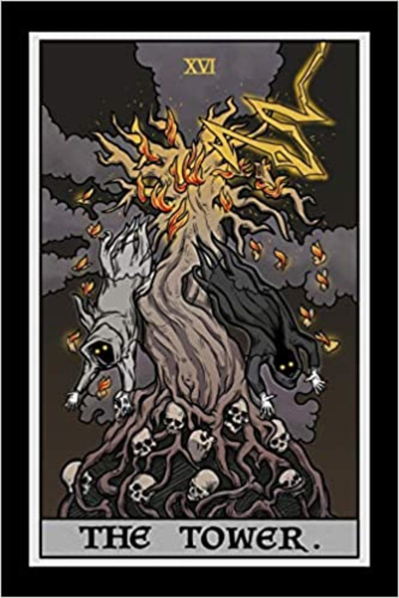 The Tower is one of the darkest cards in the deck. It has to do with serious, life-changing tragedies from pandemics, floods, famines, property destruction, and divorce. The Tower is shaken because it isn't on solid ground.