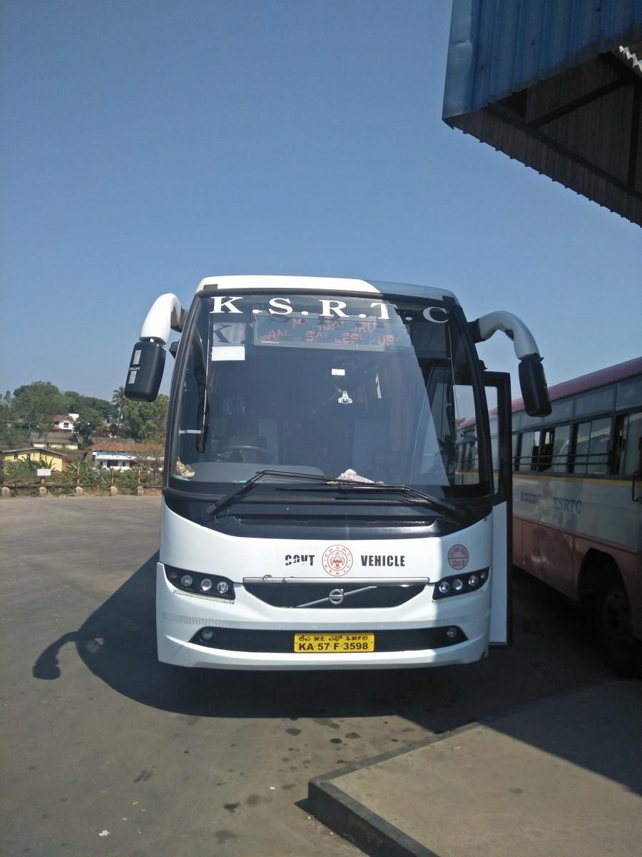 Bus parked at Sakleshpura KSRTC Bus Stand