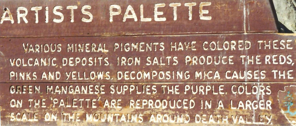 Artist's Palette sign in Death Valley
