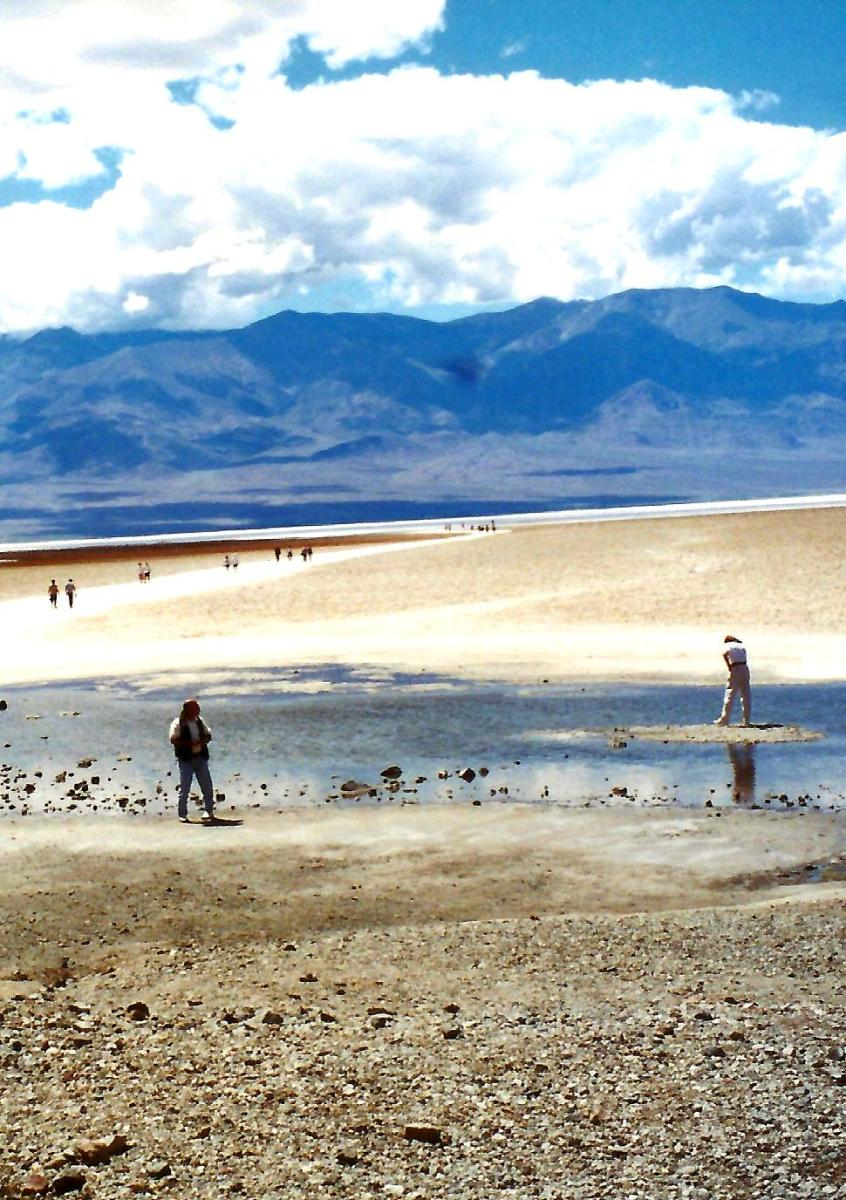 People exploring Badwater Basin
