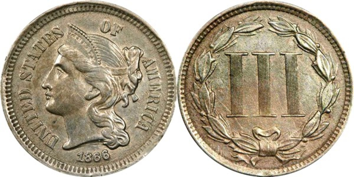1866 US 3 cent coin