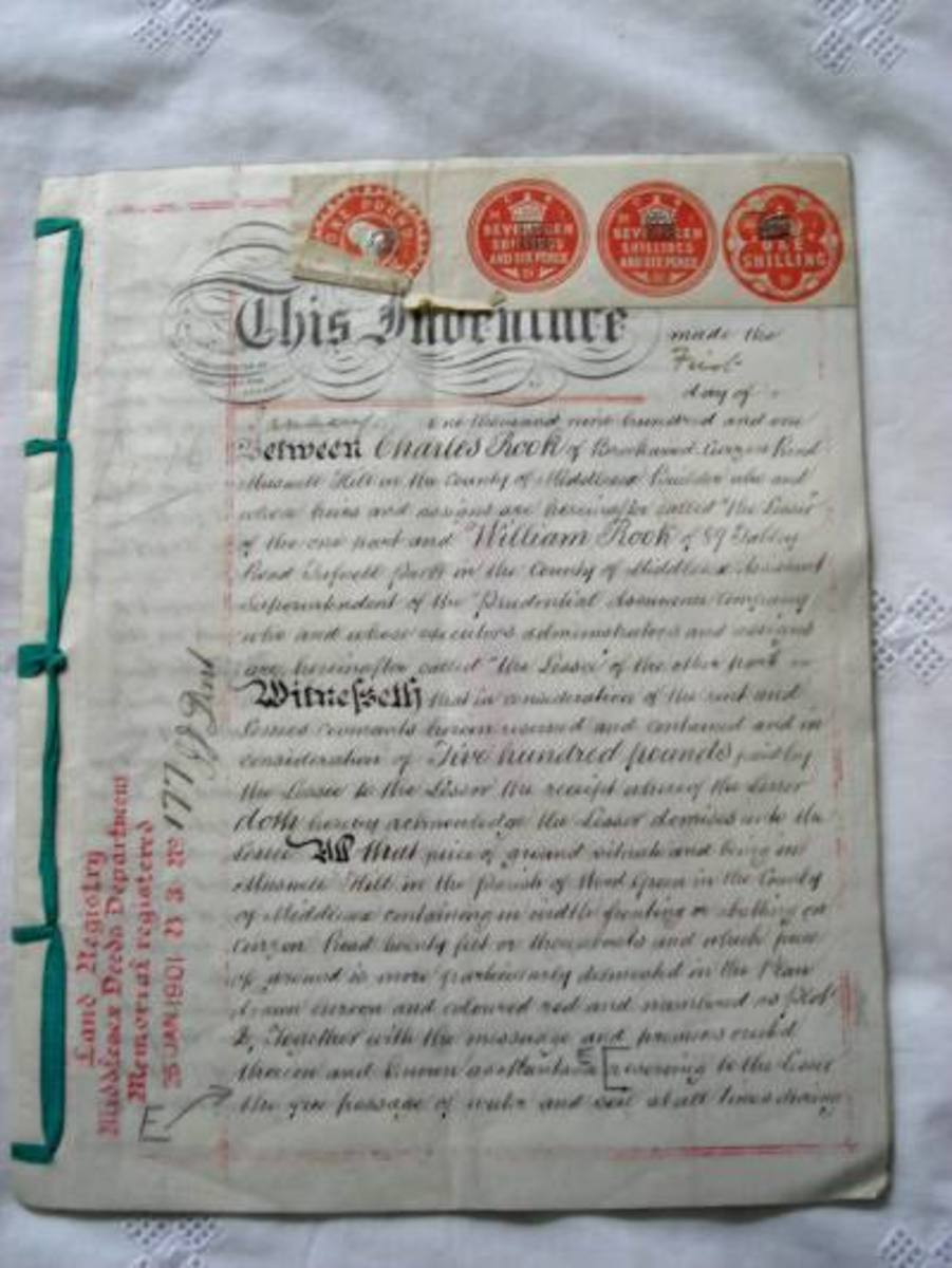 An antique indenture transferring ownership of property.  This is a collector's item now.