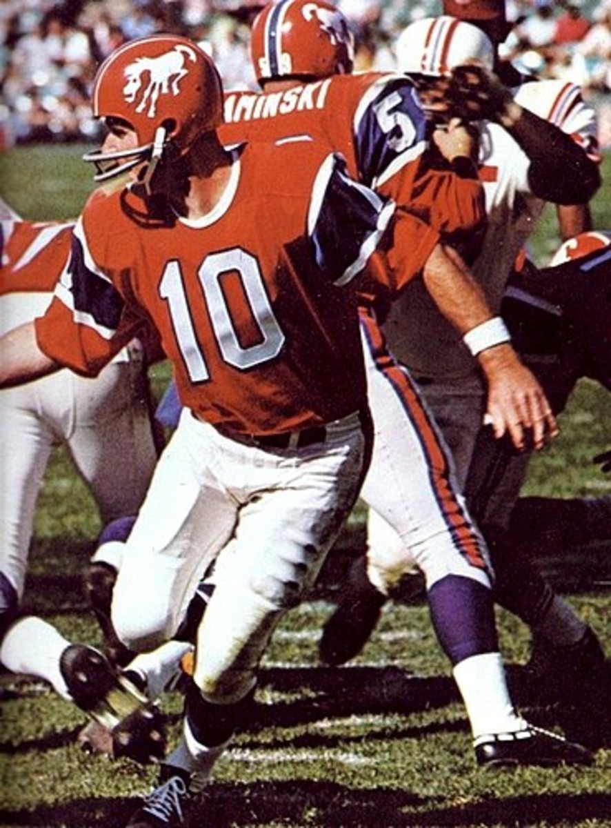 The Broncos crazy horse helmets in 1966