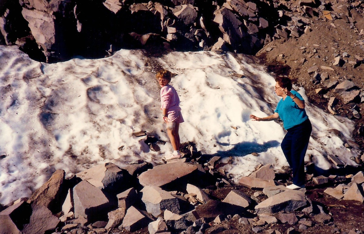 Even though it was August, we found some snow and had a snowball fight.