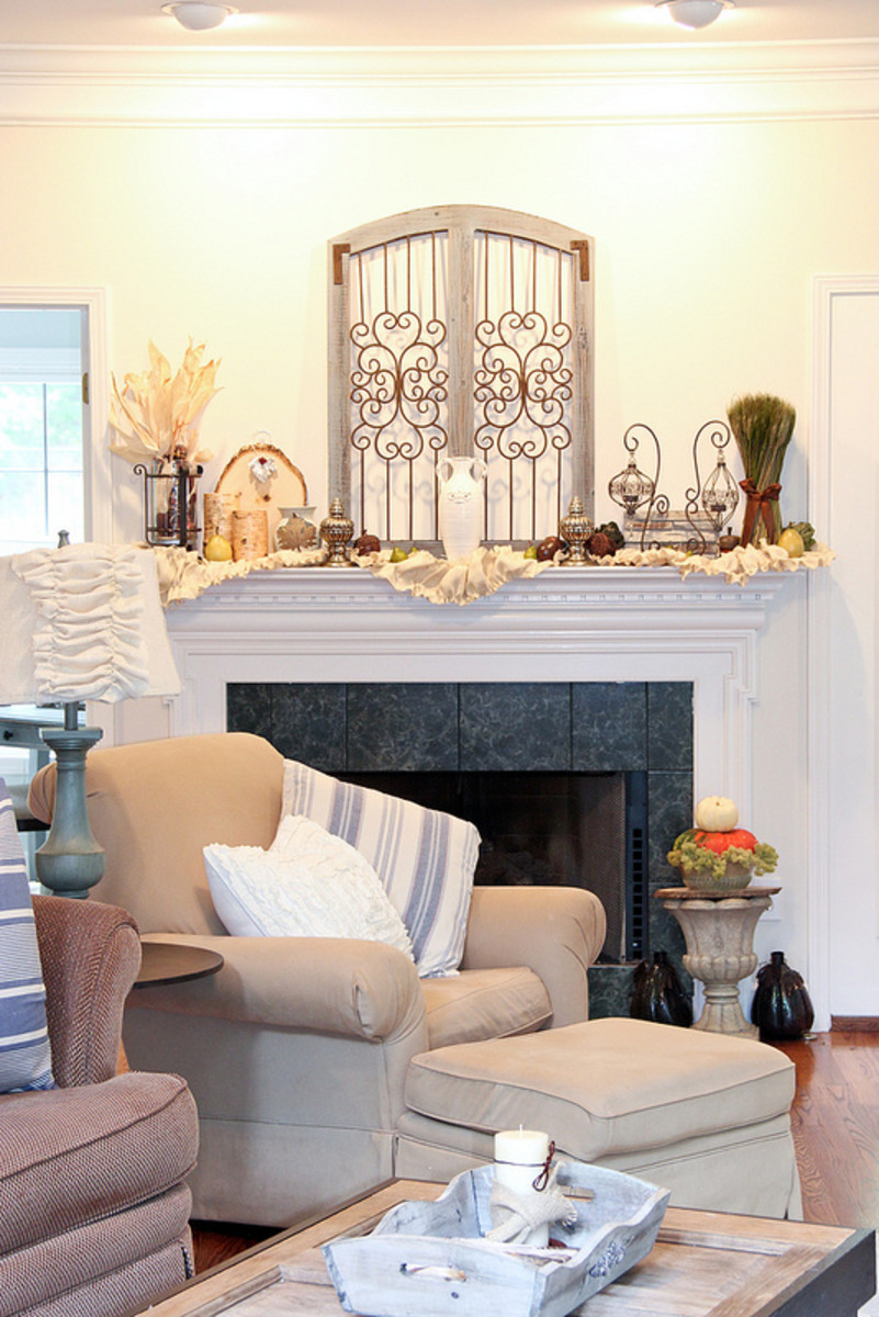 Well-Decorated Fireplace Mantel