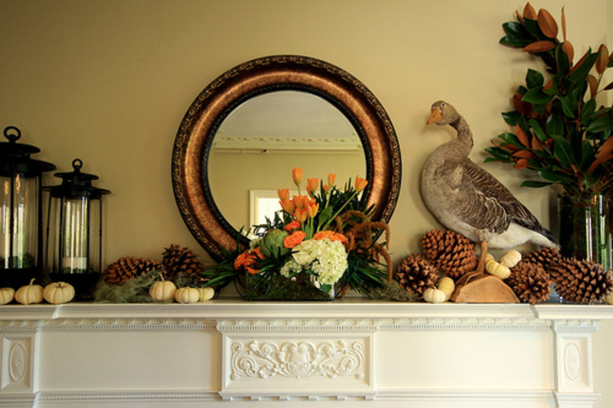 Fireplace Mantel with Fall Ornaments