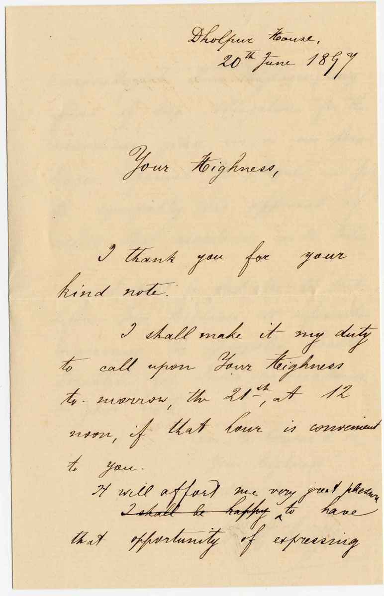 The letter of W.Haffkine to Khan