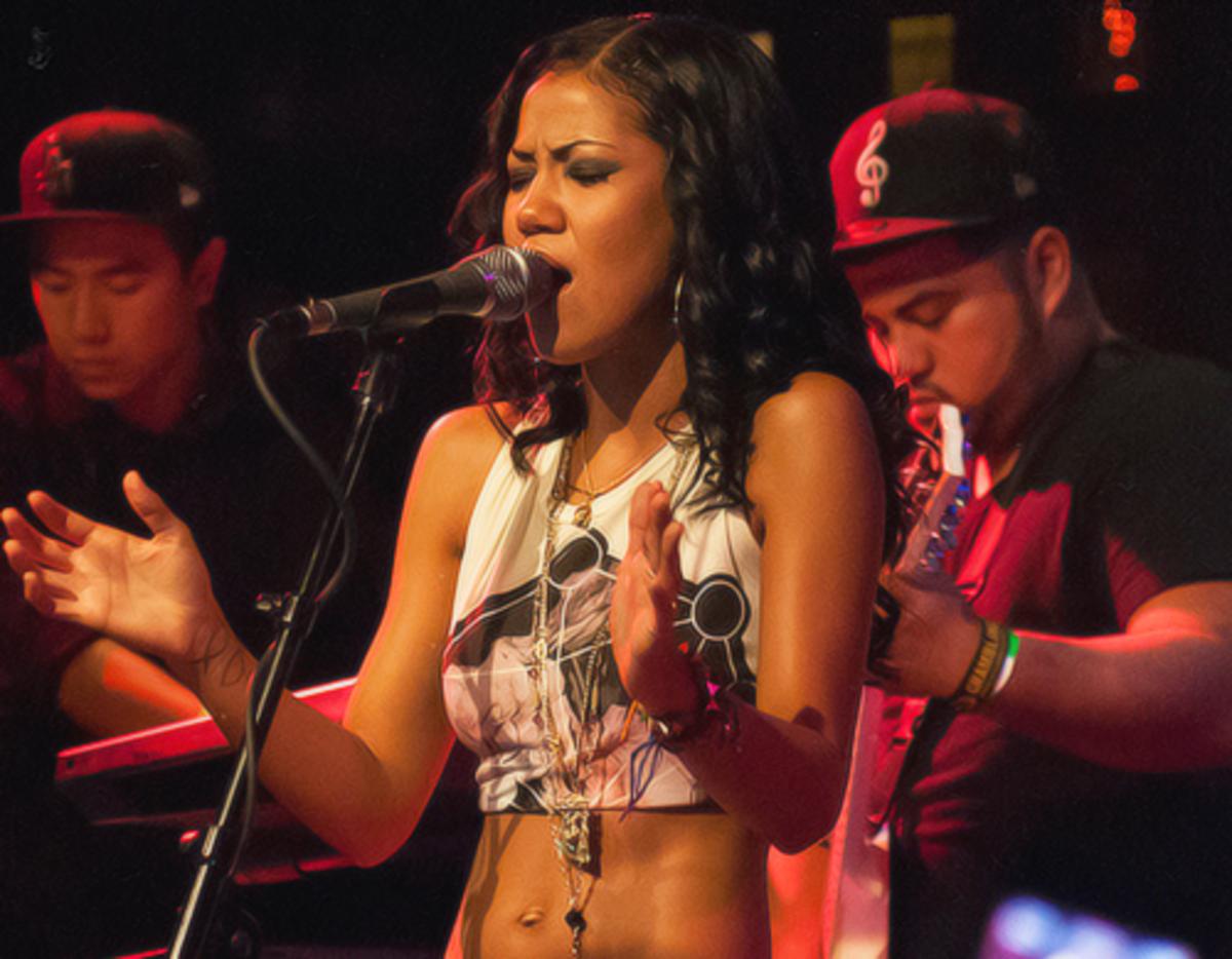 Jhené performing at SOBS