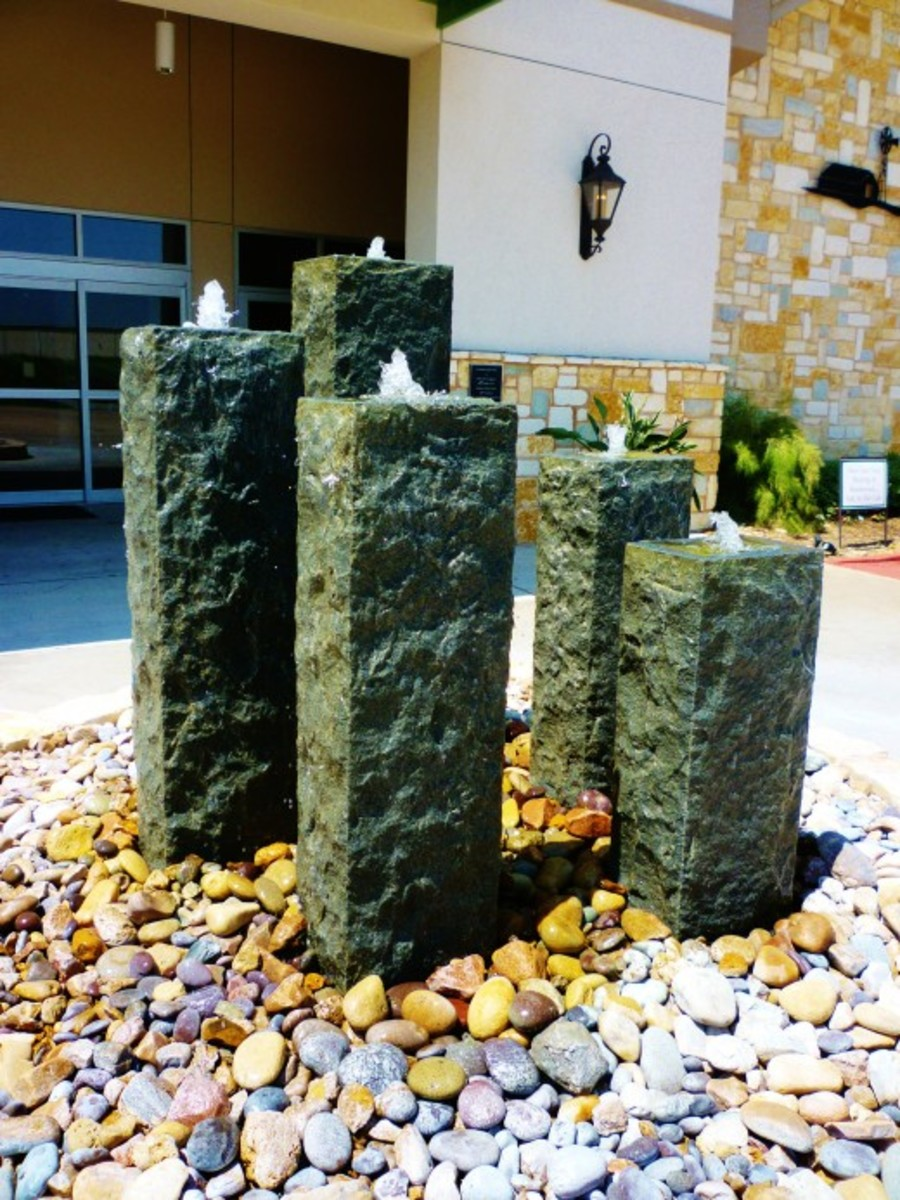 Fountains in front of Brookwood Community building