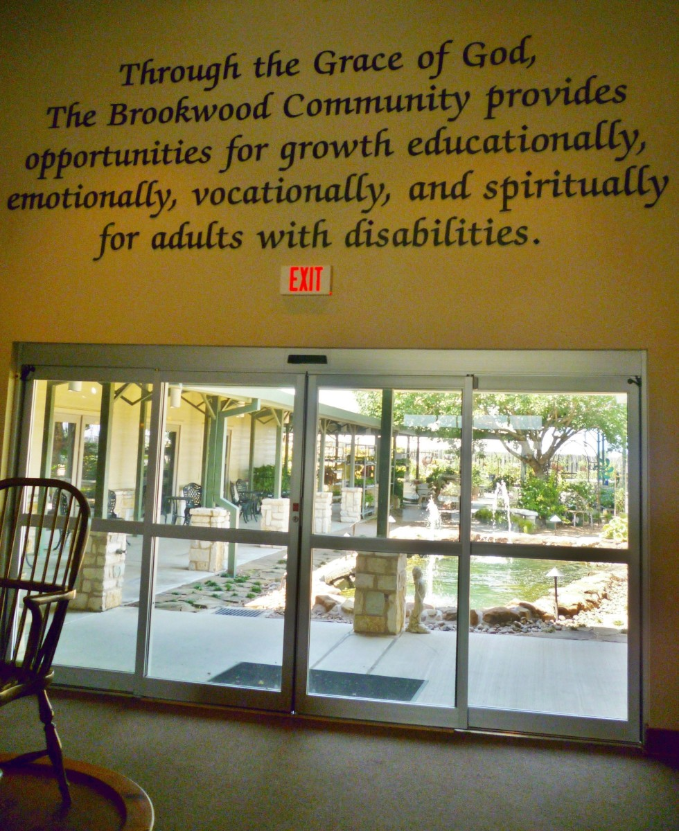 Inside of Brookwood building looking out towards the back.