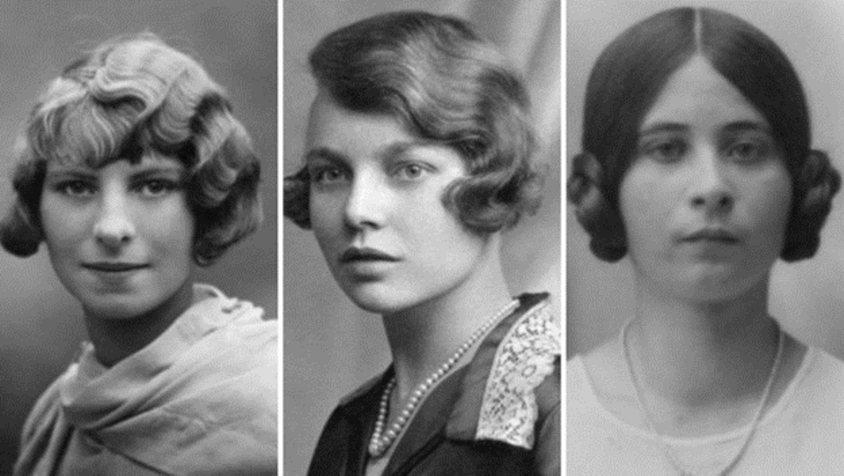 """The charleston bob with finger waves, the charleston bob with soft waves, and the earphone style """"illusion"""" bob for long hair."""
