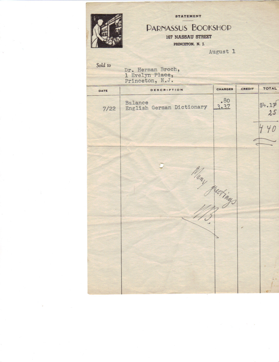 A Parnassus Bookshop invoice to Herman Broch, German novelist