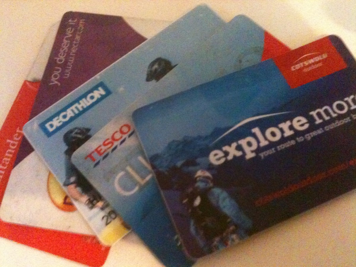 Credit and store cards are excellent for helping to 'toe in' bicycle brake pads