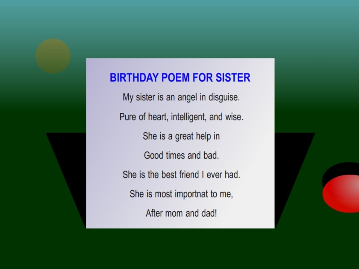 "A birthday poem for sister from our Facebook Page ""Happy Birthday Wishes, Messages and Cards""."