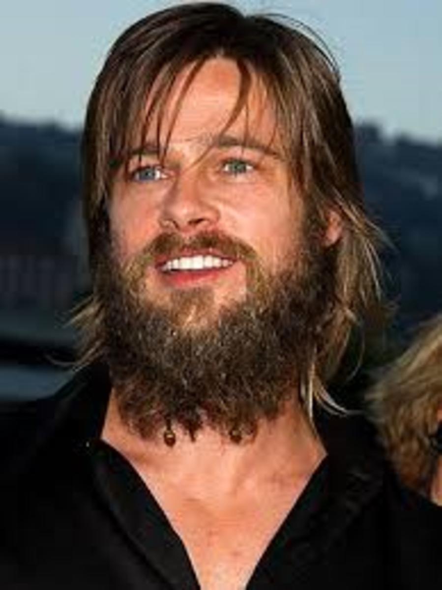 Brad Pitt looking very similar to a caveman