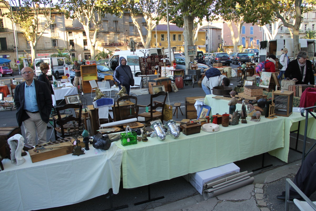 Author's stall at Pezenas Antiques Market in the Languedoc