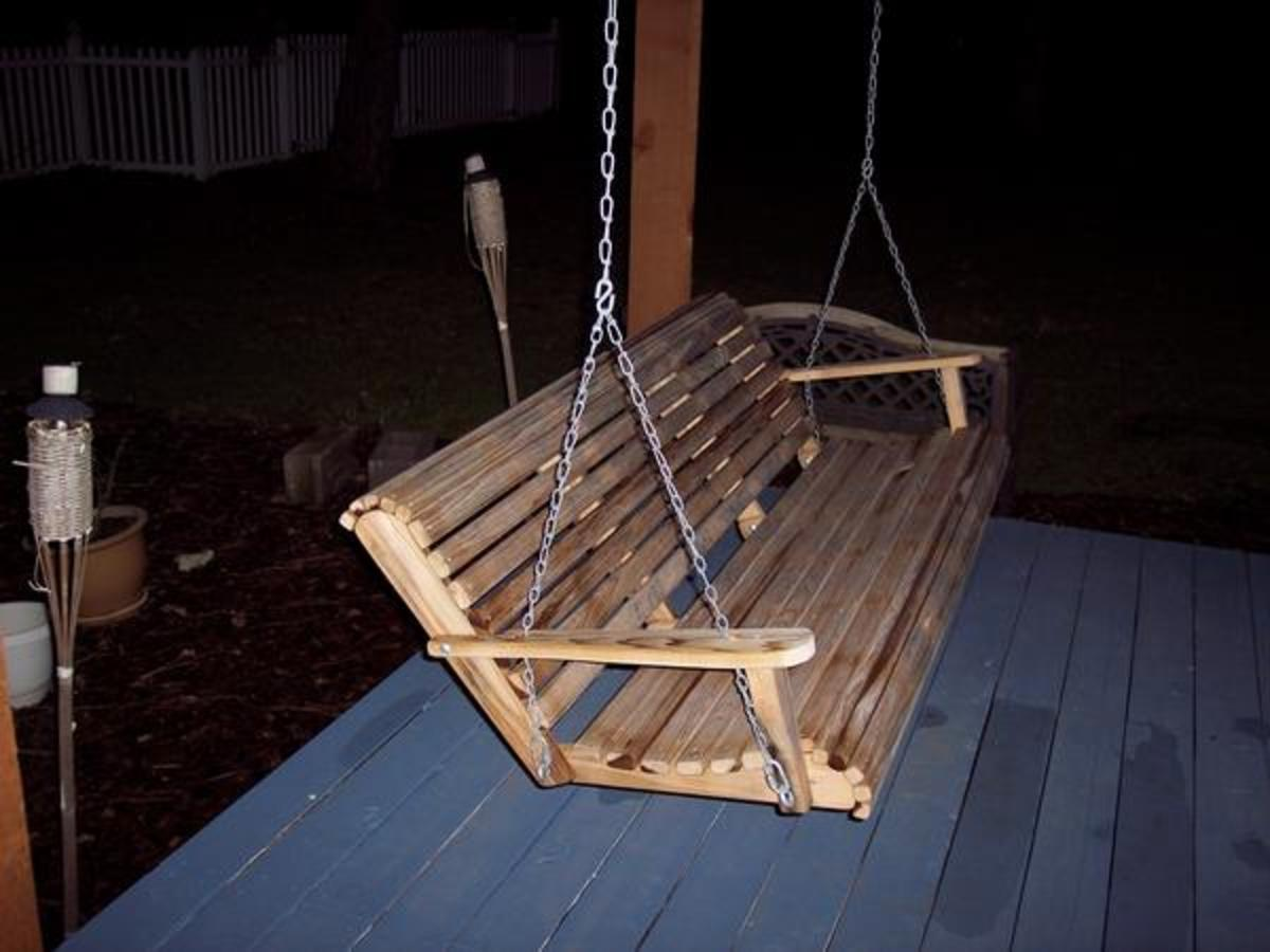 As the pergola took shape and became a reality, we ordered this cypress swing from Ebay. Hopefully cypress will live up to its reputation as being weather resistant....
