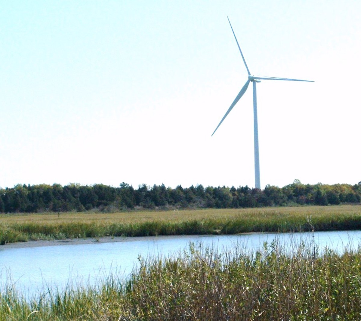 Wind turbine at the University of Delaware Hugh R. Sharp Campus in Lewes is a sleek, modern day windmill used for research and energy production.