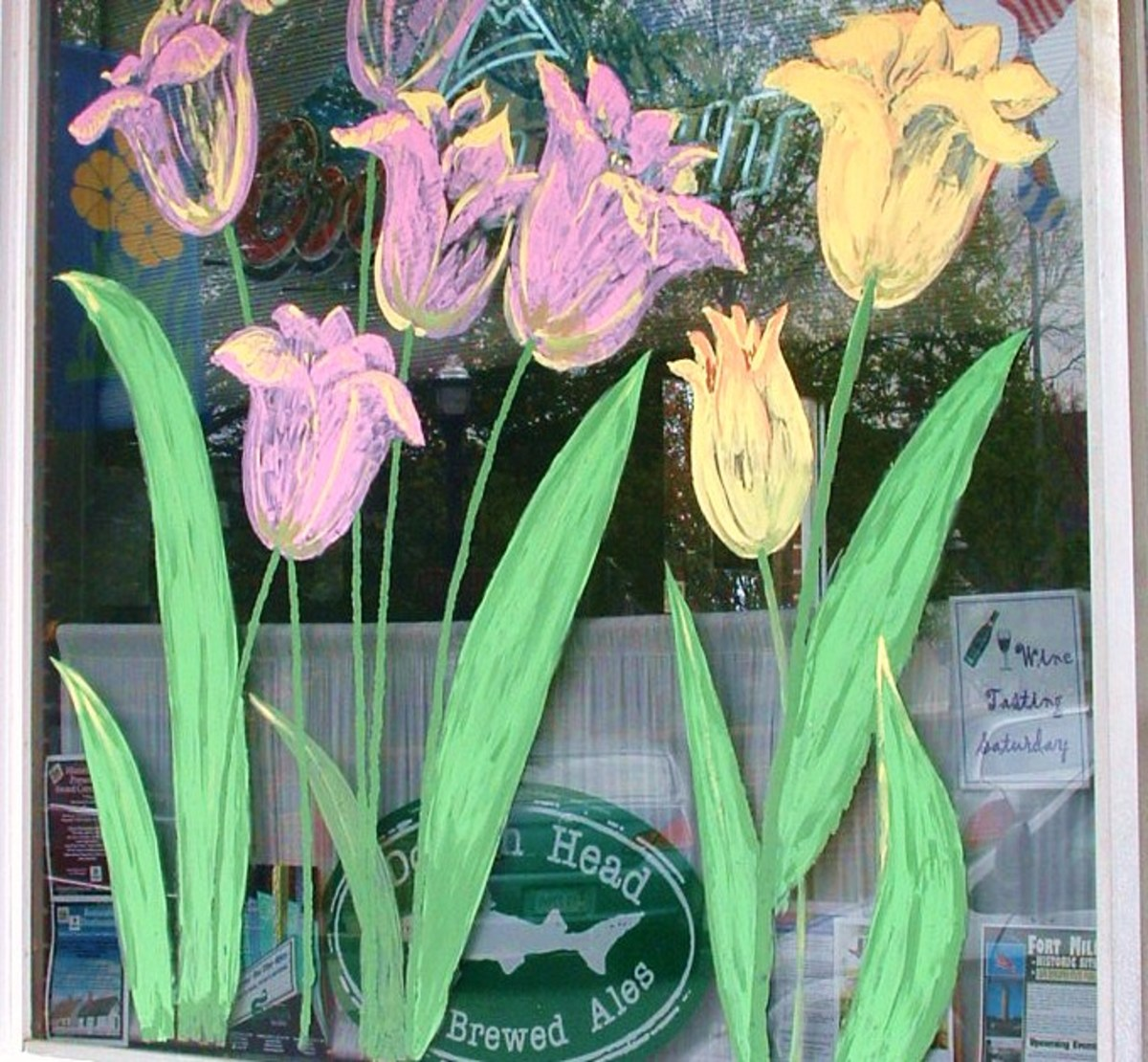 Tulip mural on store front.