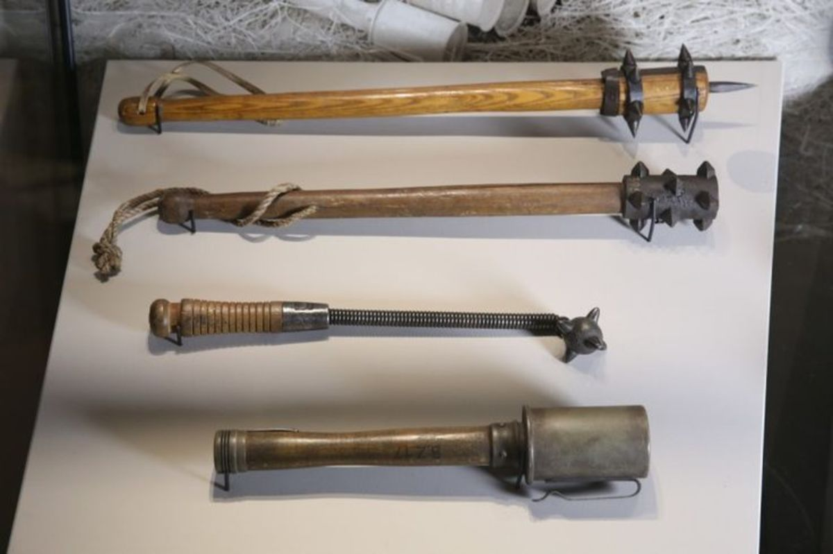 A collection of trench raiding clubs.
