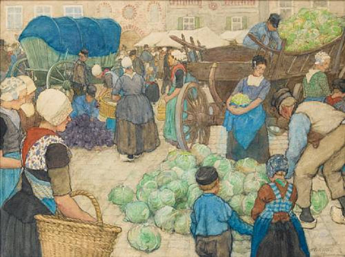 Cabbage Market Watercolor